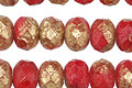 Czech Glass Etched Tomato Red w/ Gold Rondelle 6x9mm