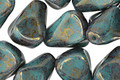 Czech Glass Lustered Bronze Turquoise Nugget Drop 12x10mm