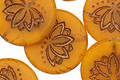 Czech Glass Matte Bronzed Pumpkin Lotus Coin 18mm