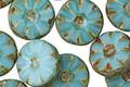 Czech Glass Turquoise Mint Daisy Coin 12mm
