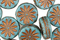 Czech Glass Turquoise w/ Bronzed Daisy Coin 12mm