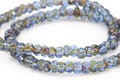 Czech Glass Sapphire Picasso Trica Beads 3x4mm