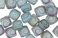 Czech Glass Laser Etched Ammonite on Matte Aqua Blue Opaline w/ Rainbow Finish 2-Hole Tile 6mm