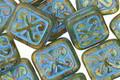 Czech Glass Moss w/ Blue Ornamental Rectangle 11x12mm