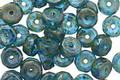 Czech Glass Capri Blue Picasso Faceted Disc 3x6mm