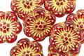 Czech Glass Ruby w/ Gold Wild Rose Coin 13mm