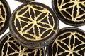 Czech Glass Jet Picasso w/ Gold Flower of Life Geometry Coin 19mm
