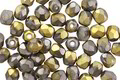 Czech Glass Matte Antique Silver w/ Gold Fire Polished Round 4mm