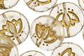 Czech Glass Matte Crystal w/ Gold Lotus Coin 14mm