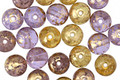 Czech Glass Royal w/ Gold Marble Round Druk 6mm