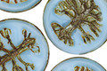 Czech Glass Alice Blue Tree of Life Coin 22mm