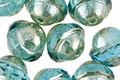 Czech Glass Beach Glass w/ Silver Luster UFO 10x11mm