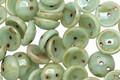 Czech Glass Mint Picasso 2-Hole Piggy Bead 8mm