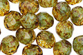 Czech Fire Polished Glass Sweet Mint & Crystal Picasso Round 8mm