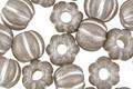 Czech Glass Black Diamond w/ Silver Wash Large Hole Melon Round 8mm