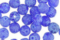 Czech Glass Etched Cobalt w/ Blue Round Druk 6mm