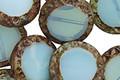 Czech Glass Blue Opal Picasso Tribal Coin 15mm