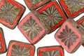 Czech Glass Coral Red Picasso Flower Window Square 10mm