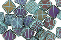 Czech Glass Laser Etched Tapestry on Matte Turquoise w/ Rainbow Finish 2-Hole Tile 6mm