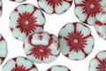 Czech Glass Opaque Light Aqua w/ Red Flower 12mm