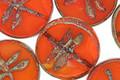 Czech Glass Campfire Dragonfly Coin 17mm