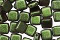 CzechMates Glass Polychrome Olive Mauve 2-Hole Tile 6mm