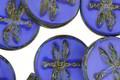 Czech Glass Cobalt Silk Picasso Dragonfly Coin 17.5mm