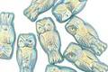 Czech Glass Turquoise AB Owl 15x7mm