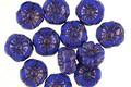 Czech Glass Bronzed Royal Blue Hibiscus Coin 7mm
