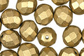 Czech Fire Polished Glass Matte Metallic Aztec Gold Round 8mm