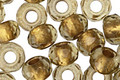 Czech Glass Smokey Quartz w/Gold Lining Large Hole Fire Polished Rondelle 5x8mm