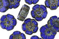 Czech Glass Marbled Cobalt Picasso Hibiscus Coin 9mm