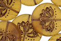 Czech Glass Matte Bronzed Amber Lotus Coin 18mm
