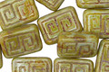 Czech Glass Pistachio Tribal Rectangle 13x9mm