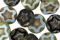 Czech Glass Black Ice Starflower Coin w/Scalloped Edge 10mm