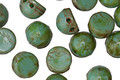 CzechMates Glass Opaque Turquoise Picasso 2-Hole Cabochon 7mm