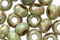 Czech Glass Luster Greenstone Picasso Large Hole Fire Polished Rondelle 6x9mm