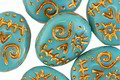 Czech Glass Turquoise w/ Gold Wash Sugar Skull 16x13mm