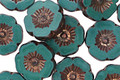 Czech Glass Bronzed Persian Turquoise Hibiscus Coin 12mm