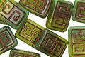 Czech Glass Bronzed Banana Leaf Wash Tribal Rectangle 12x9mm