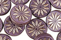 Czech Glass Amethyst w/ Silver Daisy Coin 12mm