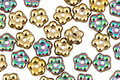 Czech Glass Iris Green w/ Gold Bali Style Daisy Spacer 2x5mm