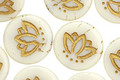 Czech Glass White w/ Gold Lotus Coin 14mm