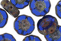 Czech Glass Sapphire Picasso Hibiscus Coin 12mm