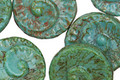 Czech Glass Turquoise Picasso Ammonite Coin 17mm