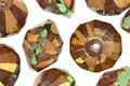 Czech Glass Luster Gold Olive Green Saucer 9x13mm