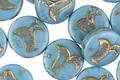 Czech Glass Bronzed Sky Blue Bird Coin 11mm