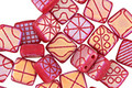 Czech Glass Laser Etched Tapestry on Matte Raspberry w/ Rainbow Finish 2-Hole Tile 6mm