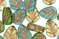 Czech Glass Oasis w/ Copper Leaf 10x8mm