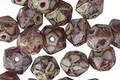 Czech Glass Boysenberry Picasso English Cut Bead 6x8mm